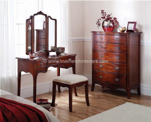 Paris Mahogany Dresser and Triple Mirror
